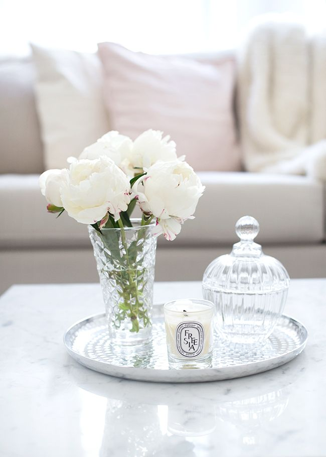 White, Crystal & Diptyque on a silver Tray