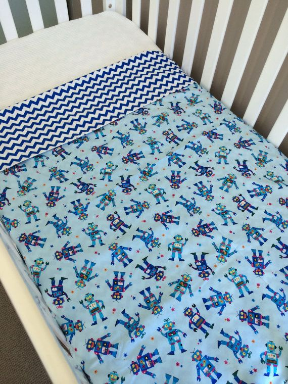 Ready to send Cot doona cover robots & blue by BabyRainbowz