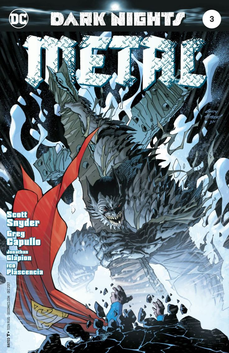 It's Superman vs Devastator, the evil Batman-Doomsday hybrid that came along with Barbatos! Spoilers for Dark Nights: Metal # 3 by Scott Snyder