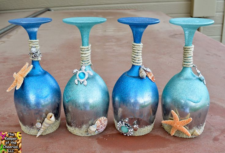 Summer and sea wine glasses candle holders the keeper for Wine bottle candle holder craft