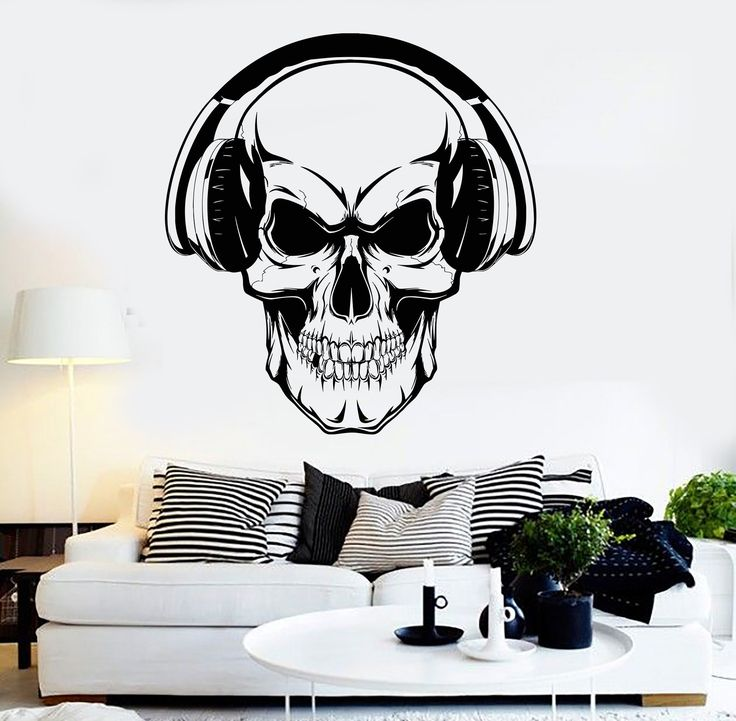 Vinyl Wall Decal Skull Headphones Musical Teen Room Music Stickers Unique Gift (ig3763)