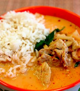 Khmer Red Curry is not the same as the red curry that comes from Thailand. Yes, it is still made with coconut milk but these isn't an absurd amount of red chilies and the ingredients are slightly different.
