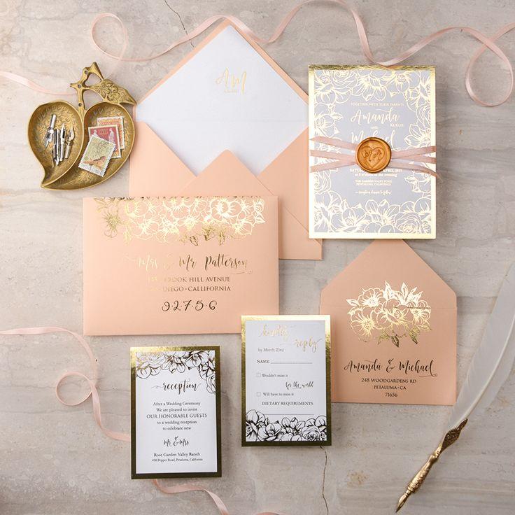Wedding Gold and Peach invitation 668 best