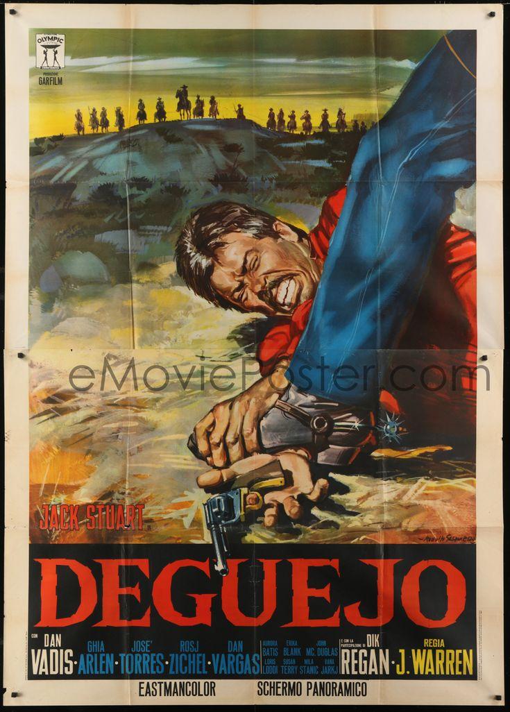 eMoviePoster.com Image For: 4j383 DEGUEJO Italian 2p 1966 Gasparri spaghetti western art of cowboy's hand with gun stepped on!