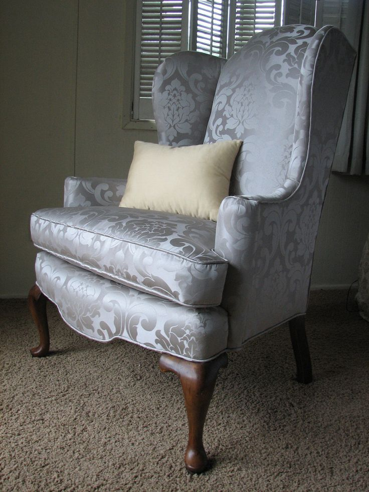 Queen Anne Regal Wingback Chair In Grey Silver Damask