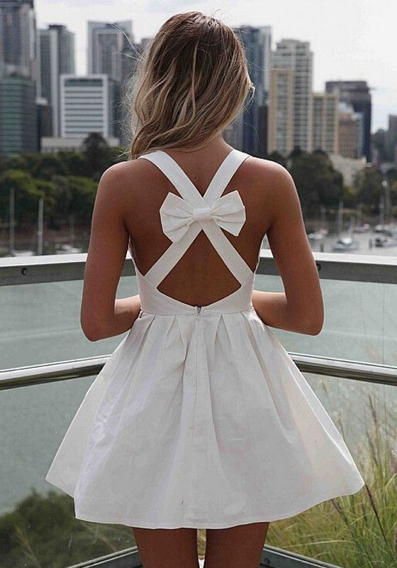 White Plain Pleated Bow Slim Mini Dress