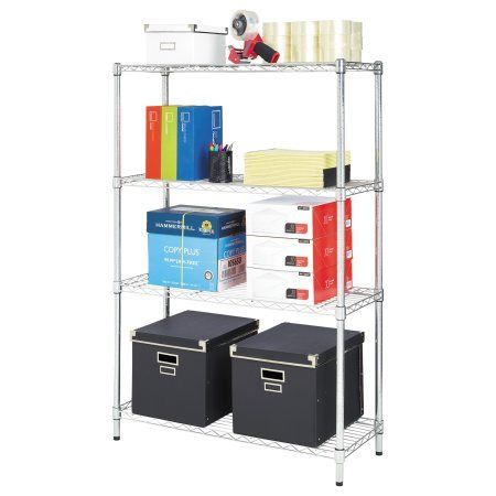 Alera Residential Wire Shelving, Four-Shelf, 36w x 14d x 54h, Silver