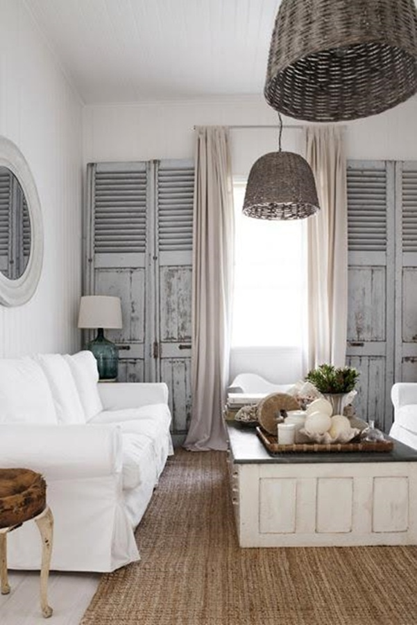 Lampadaire Bois Ikea : Neutral Living Room with Shutters