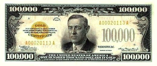 Photo Image of an American One Hundred Thousand Dollar Bill — One Hundred Thousand USA Dollars