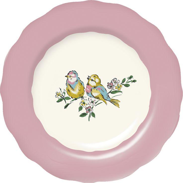 Katie Alice Bird Song Pink Side Plate