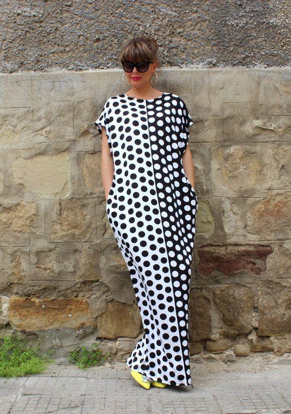 Black and White Polka dots Maxi dress , kaftan , caftan dress , oversized dress , abaya , summer dress