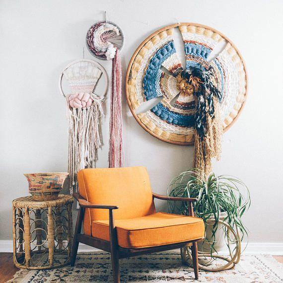 Colgante de pared de arte atrapasueños tejidas de fibra