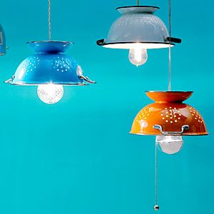 The humble colander a gets a fresh identity with these DIY hanging lamps.