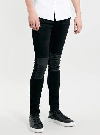 BLACK LEATHER LOOK KNEE PATCH SPRAY ON SKINNY JEANS - Sale | pur ...