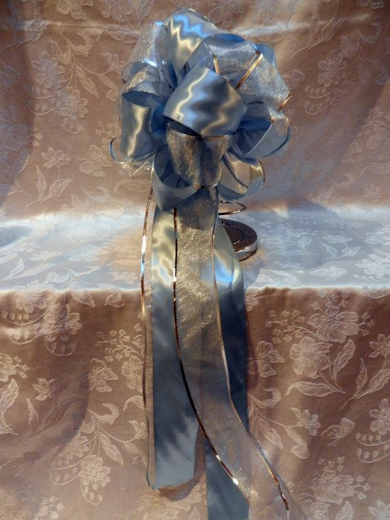 Light Blue Satin and  shimmery Silver  ribbons by creativelycarole, $100.00