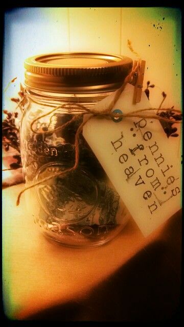 """When Leeah & I find pennies on the ground, we say they are from mamaw & papaw in heaven! I made this mason jar our """"collection"""" jar <3"""