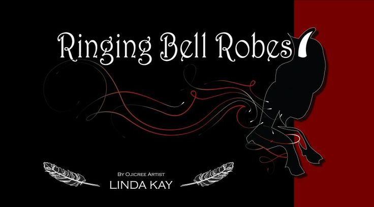 "Lyn Kay Designs Logo...Ringing bell Robes..name derived from her Cree name ""Kaysaywaysemat"" meaning person who rings bell..rough translation. The name came from a brain storm session with my bff Rhoda Peters and my sister Jeanie Kay-Moreno"