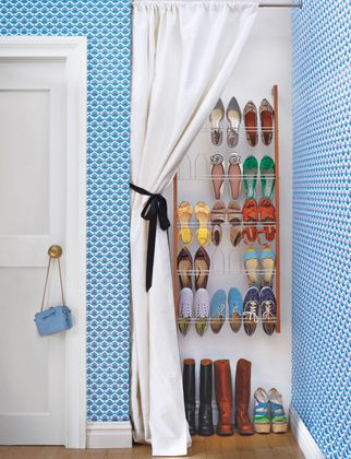 MUD ROOM - SHOE STORAGE ~ It would be neat to incorporate one of the wall shoe storage ideas on this page into a mud room.  On the floor could be a boot dryer and an outlet on the wall for the dryer too.