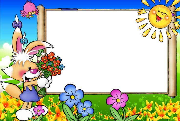Рамка для фото с зайчиками солнышками   С днем рождения ...