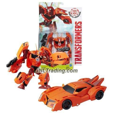 "Hasbro Year 2015 Transformers Robots in Disguise Animation Warrior Class 5-1/2"" Tall Figure - Decepticon BISK with Blasters (Vehicle: Sports Car)"