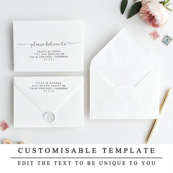 Print At Home Envelope Template Elegant Modern Calligraphy Etsy Wedding Envelopes Diy Modern Calligraphy Envelope Wedding Envelopes Design