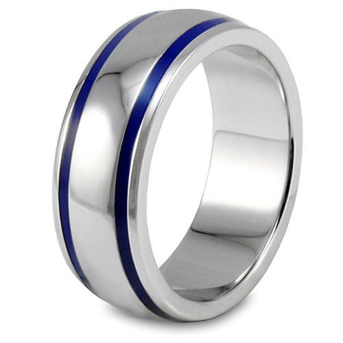 Domed Polished Stainless Steel Ring with Blue Enamel Lines West Coast Jewelry. $20.95