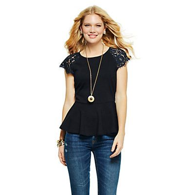 Love this Lace Sleeve Peplum Top for $88 on C. Wonder