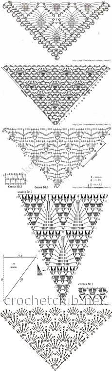 Большая подборка схем для вязания шалей,бактусов и детских косынок крючком
