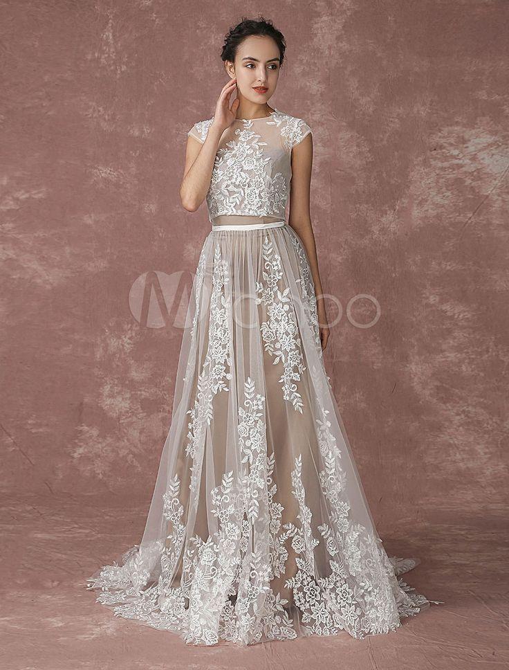 Playa de vestido de Novia de encaje 2 piezas Vestido de novia encaje encogiéndose de hombros ilusión escote-vestido sin mangas tribunal tren vestido de novia
