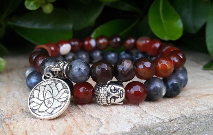 Mens Womens Couples Bohemian Gemstone Bracelet Set, Buddha, Yoga, Mala, Meditation, Black Moonstone, Agate Bracelet
