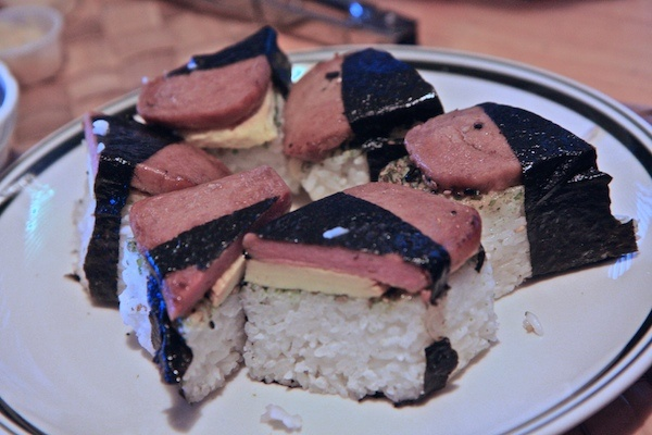 Spam musubi...a tasty 'treat' served up in Hawaii by locals!