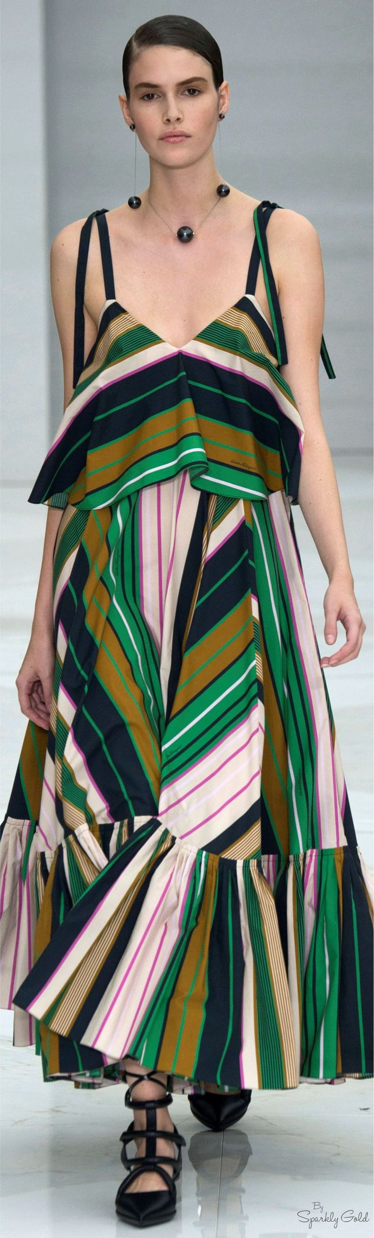 Love the necklace and the play of stripes for the dress, from: Salvatore Ferragamo Spring 2016