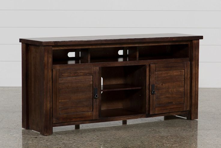 With their solid pine construction and distressed dark brown finish, the Canyon stands are a sturdy and handsome hub for your entertainment equipment. Rustic yet refined, the pieces feature a planked texture on the doors and hammered pull hardware with full backplates in a graphite finish.