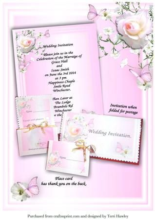 This is a great wedding invite kit designed for you to print your self, add you words, print out, and there is so many ways you can dress them up, You can even print one side put back into your printer and print the reverse side on the same sheet or use a divider of your own choice.  Has the Invitation, the reverse side, name cards that have a thank you on the back, has a rsvp card to send with your invitation, when your invitation is finished and folded, fits nicely into any DL envelope…