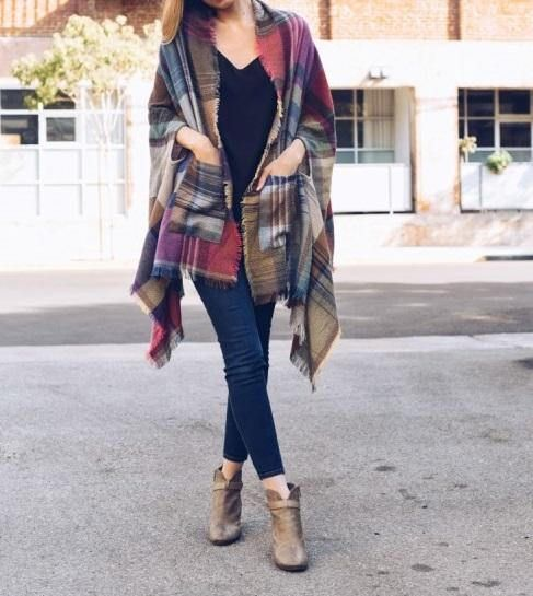 Plaid Blanket Poncho, Winter Poncho, Winter Scarf Shawl, Blanket Scarf, Plaid Blanket Scarf, Pocket Poncho Get this plaid scarf to complete your getaway get-up! Taking cues from the warm colors of the landscape, this toasty, fringed accessory is striped with ash, ginger, cocoa, black,