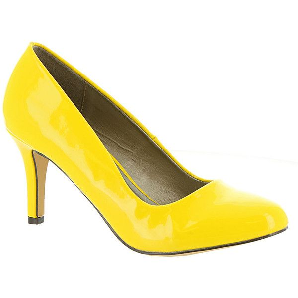 Michael Antonio Finnea Women's Yellow Pump ($34) ❤ liked on Polyvore featuring shoes, pumps, yellow, michael antonio, michael antonio footwear, michael antonio shoes, yellow high heel shoes and yellow pumps