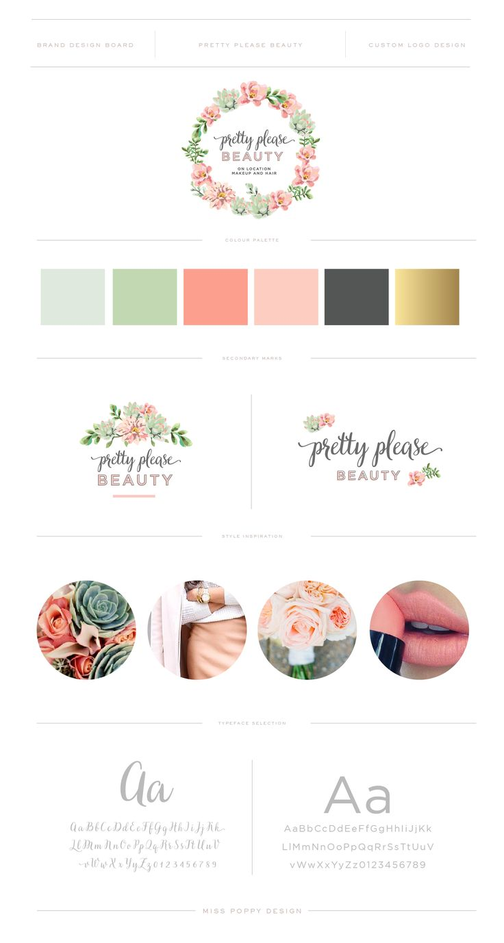PRETTY PLEASE BEAUTY // Brand Design and Logo by Miss Poppy Design / Brand Board / Colour Palette / Mint / Peach / Branding / Floral / Wreath www.misspoppydesign.com