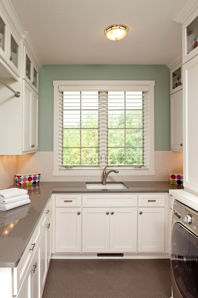 Cool Cambria Countertops vogue Minneapolis Traditional Laundry Room Remodeling ideas with built-in cabinets gray floor green walls penny tile undercabinet lighting white cabinets