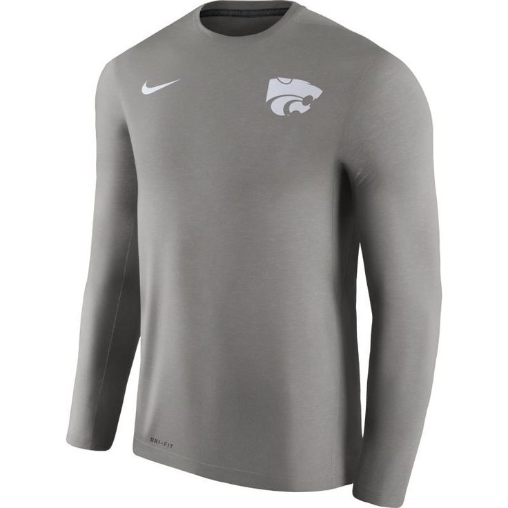 Nike Men's Kansas State Wildcats Heathered Grey Football Coach Dri-FIT Touch Sideline Long Sleeve Shirt