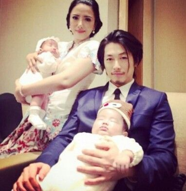 Dean Fujioka and his wife, Vanina Amalia Hidayat...(she's chinese-Indonesian) with their little angles