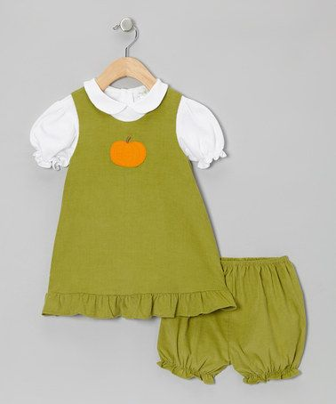 Take a look at this Pistachio Green Pumpkin Jumper & White Blouse - Infant by Petit Pomme on #zulily today!