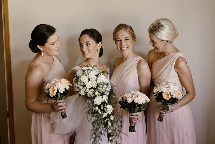 Bridesmaids in Amsale blush crinkle chifon    http://amsale.com/bridesmaids/