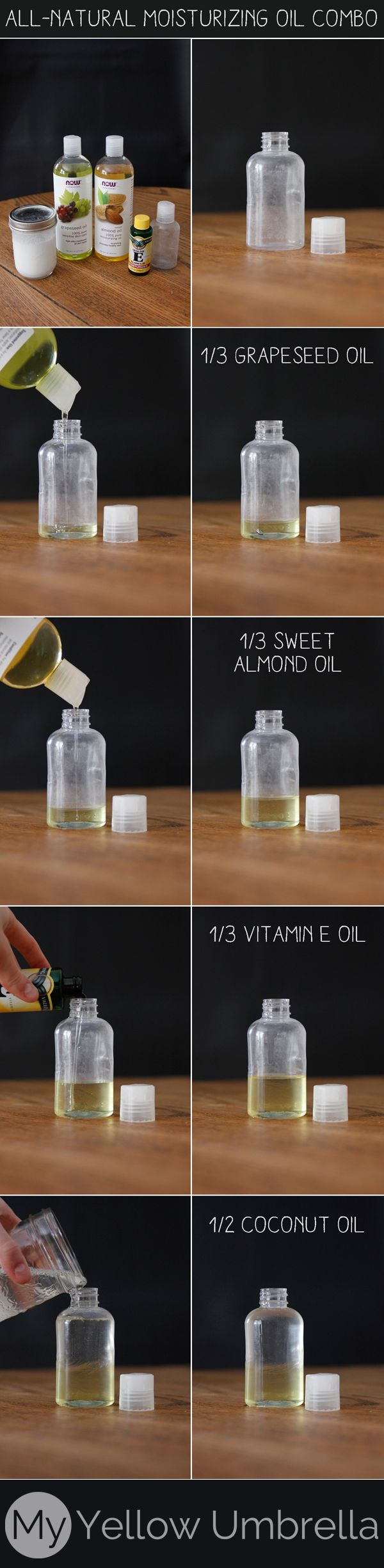 all natural oil moisturizer recipe...add some castor oil