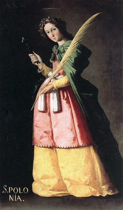 Francisco de Zurbaran (1598-1664)De H. Apollonia (ca. 1636) Olie op doek 134 x 67 cm - Het Louvre
