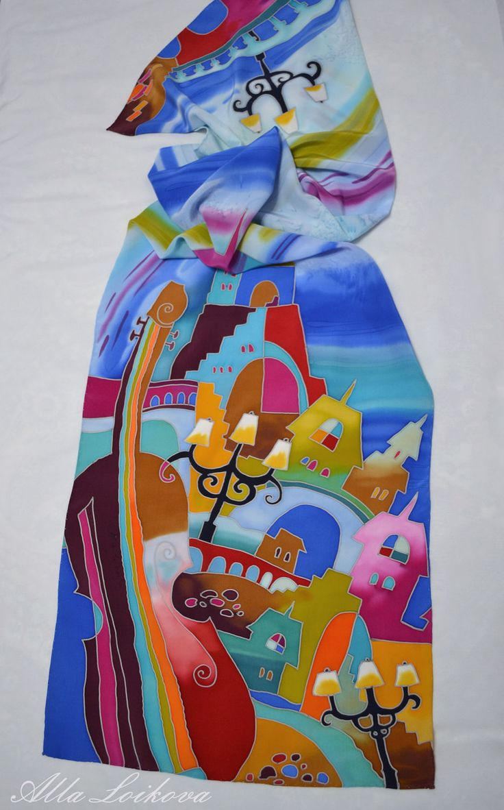 Купить или заказать Шелковый шарф 'Курортный городок' в интернет-магазине на Ярмарке Мастеров. Новая цена 2500,0р Яркий крепдешиновый шарф с ручной росписью в технике холодного батика. Подшивка ручная потай…