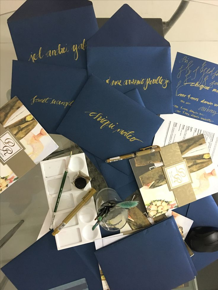 Midnight Blue Gold And Silver Wedding Invitation Personalized Painting By The Bride