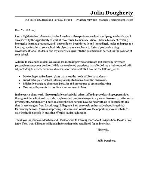 Big Teacher Cover Letter Example