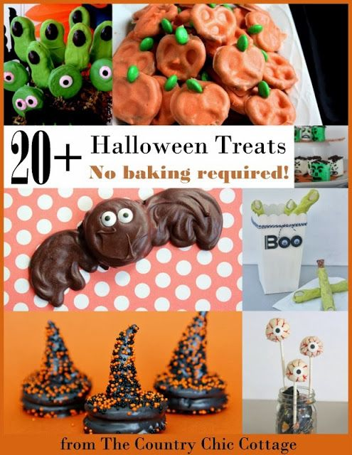 Over 20 Halloween Treat Recipes with no baking required -- a collection of no bake Halloween recipes that kids will love!