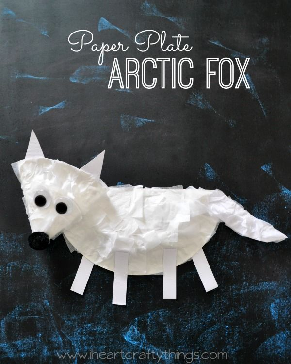 Paper Plate Arctic Fox Craft for Kids | Great Winter Preschool Craft, especially if you are learning about Arctic Animals. From iheartcraftythings.com