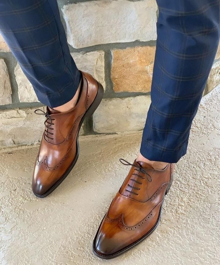 Formal Men S Brown Color Wing Tip Stylish Leather Shoes Brown Leather Shoes Leather Formal Shoes Leather Dress Shoes